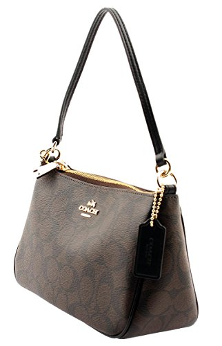 Handle Crossbodle COACH Top Coated Signature Canvas Pouch Brown wRqwTvaA