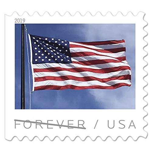 2019 US Flag Coil of 100 USPS Forever First Class Postage Stamps Patriotic American Celebration (roll of 100 Stamps)
