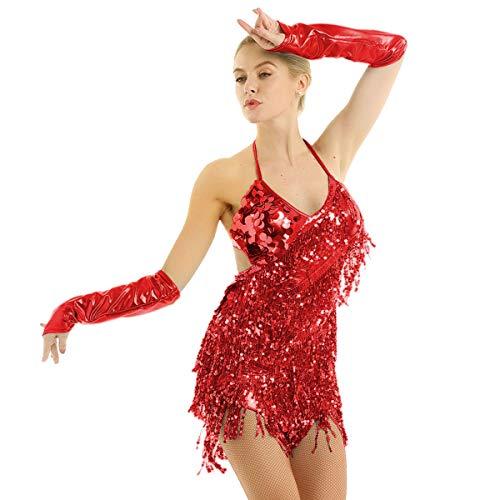 YiZYiF Women's Halter Neck Latin Salsa Tango Ballroom Dance Costume Tassels Sequins Dress Red One Size ()