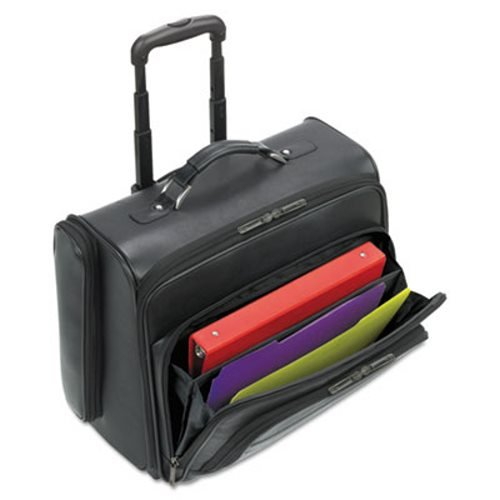 Solo Rolling Notebook Overnighter (Solo Rolling Laptop Case, Leather, 15-1/2 x 10 x 14, Black (USLD9644))