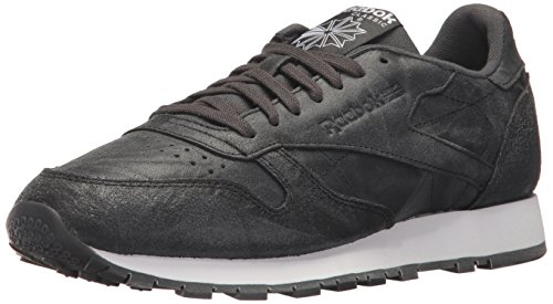 Reebok Men's CL Leather CTE Fashion Sneaker, Gravel/Black/White, 8.5 M US