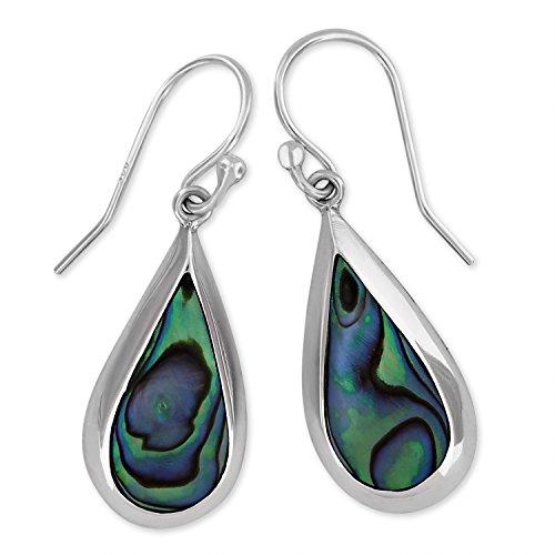 Sterling Silver Abalone Shell Teardrop Dangle Earrings (Teardrop Paua Shell)