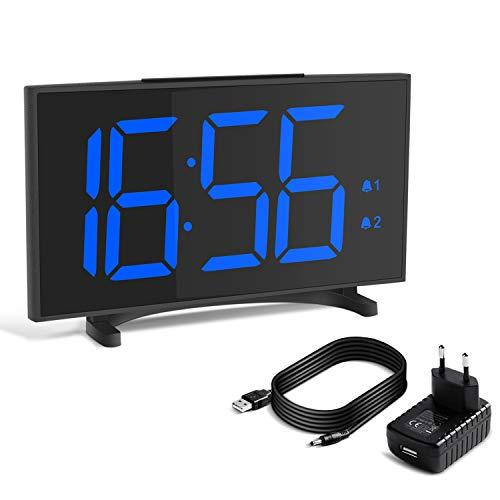 YISSVIC Despertador Digital Reloj Despertador Ultra Delgado con 6,5 Gran Pantalla LED Equipado con 2 Alarmas y Brillo Ajustable de 6 Niveles Formatos 12/24 ...