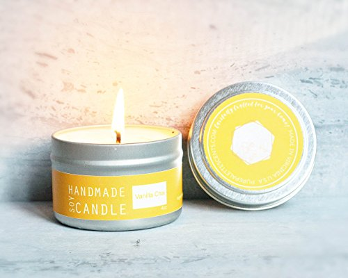 - Vanilla Chai Soy Candle Travel Tin 20 Hour Burn Time Handmade in Small Batches