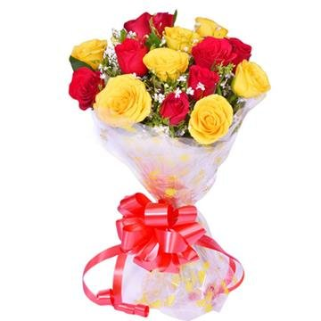 Floralbay Special Yellow Red Roses Bouquet Of Fresh Flowers In