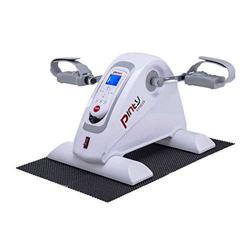 Pinty Compact Motorized Mini Exercise Bike Pedal Exerciser Portable Cycle Lightweight for Arms and Legs with LED Monitor Fitness(White)