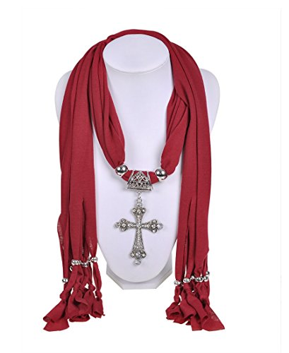 Wishcart Diamond Cross Pendant Scarf Necklace Jewelry Women Scarves - Alloy Cross Pendant