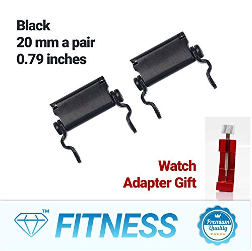 - Diamond Survival Multitools Bracelet Adapter for Watch, A Pair of Black Lug 20mm (0.79