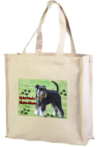 Cream Shopping Bag Dog Cotton Miniature Schnauzer Schnauzer Miniature 4p01qPzB