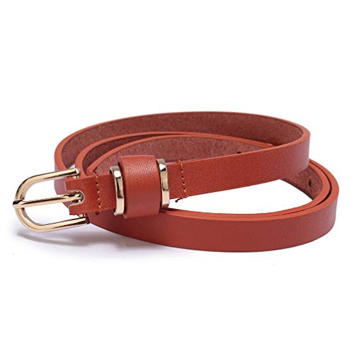 Set of 5 Women's Skinny Leather Belt Solid Color Waist or Hips Ornament 10 Sizes (36-38, Orange 1/2