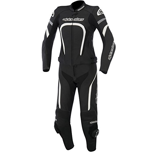Alpinestars Motegi Women's 2-Piece Street Motorcycle Race Suits - Black/White / 38