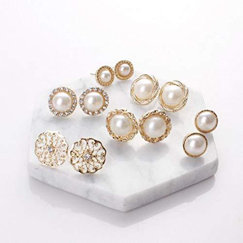 - sholdnut 6 Pairs Retro Elegant Imitation Pearl Earrings Studs Gift Set, Hypoallergenic Stainless Steel, Stud Earrings for Women and Girl