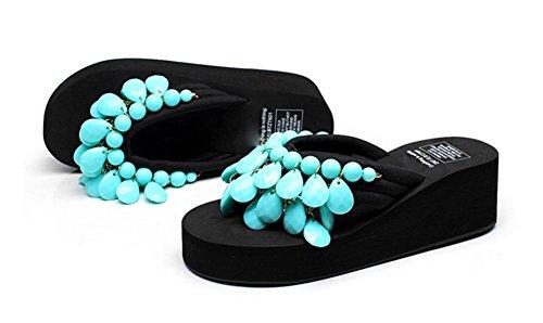 Creativa hecha a mano de playa de cuentas con zapatos de verano de las mujeres pendiente con espina de arenque de arrastrar y soltar único espeso zapatillas 8