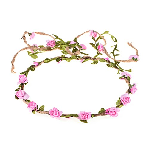 DDazzling Flower Crown Floral Wreath Headband Floral Garland Headbands photo props (Pink)]()