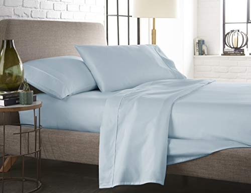 Pleated Four (400 TC, 100 % Long Staple Ultrafine cotton, Luxury Bedding, Hotel Collection, fits mattress up to 16 inch, Solid Sateen Weave , 4 Sheet Set Pleated Hem (Cal.king Blue Sky) By Westbrooke Linens)