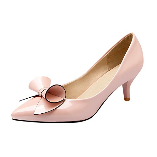 Mee Shoes Damen süß Schleife Lackleder Kitten heel Niedrig Pumps Pink