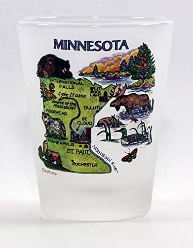 (Minnesota Map Frosted Shot Glass)