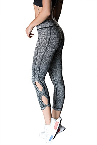 Womens Fashion Running Leggings Yoga Gym Eighth Pants With EIGHT Hollow Design (L, Grey) (One Litter Pan)