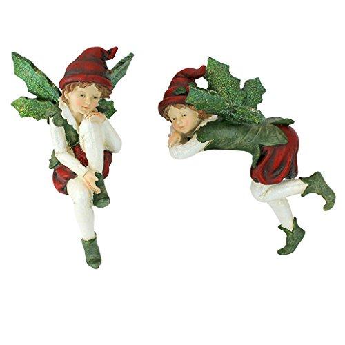 Christmas Decorations - Emmanuel and Elijah, Santa's Xmas Elf Shelf Sitter Holiday (Frost Fairy Wings)