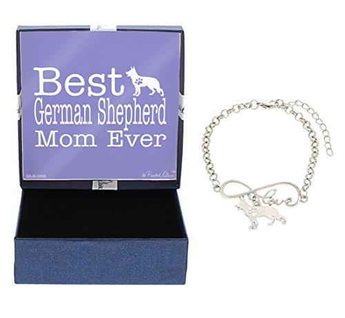 German Shepherd Dog Necklace - Best German Shepherd Mom Ever Love Infinity Charm German Shepherd Bracelet Gift Silhouette Charm Bracelet Silver-Tone Bracelet Gift German Shepherd Owner Jewelry Box