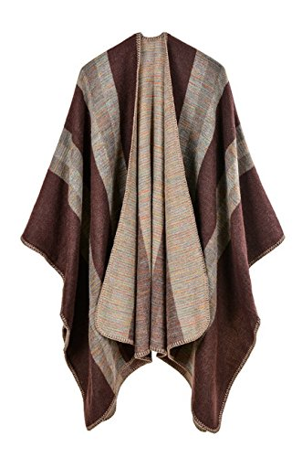 Hiwil Womens Autumn Casual Fashion Cardigan Faux Wool Plus Size Blanket Ponchos Shawls Scarf Coffee One Size