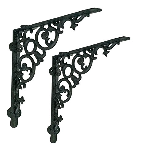 NACH js-90-418 Scroll Shelf Bracket (Pack of 2), Large, Black (12x2x12 inches)