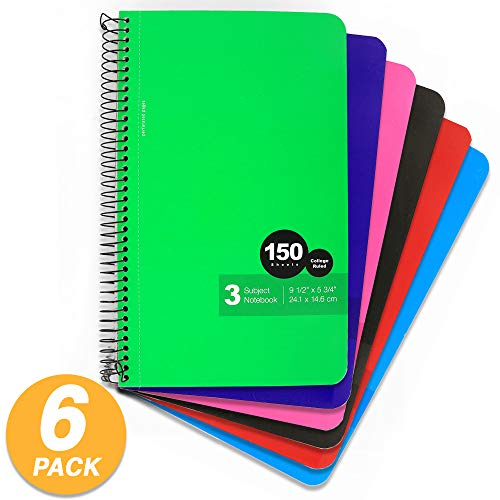 - Emraw Top Bound Spiral Memo Books 150 Sheets College Ruled Wire Binding Meeting Notebook Durable Laminated Cover Assorted Color Wire Bound Double Sided Paper Small Notebook (6-Pack)