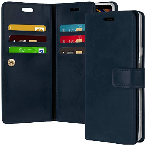 Goospery Mansoor Wallet for Samsung Galaxy Note 9 Case (2018) Double Sided Card Holder Flip Cover (Navy) NT9-MAN-NVY