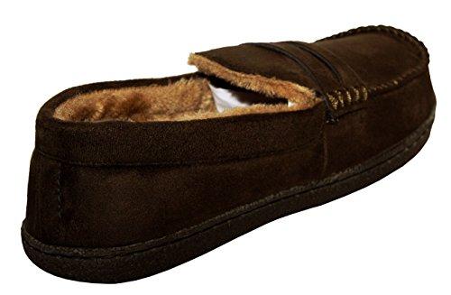 E Brown Da Di Pantofole Calde Foderate Comode Uomo Invernali Dark Leggere Forma Suede Pelliccia Mocassino A Con 8wwqTZ5