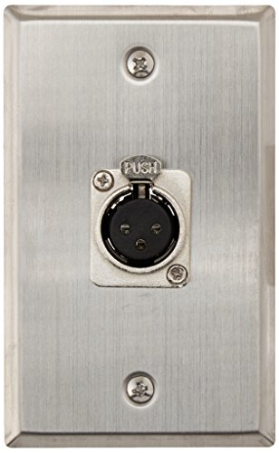 Seismic Audio SA-PLATE12 Single XLR Female Connector Stainless Steel Wall Plate ()