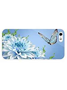 3d Full Wrap Case for iPhone ipod touch4 Animal Butterfly On Blue Dahlias