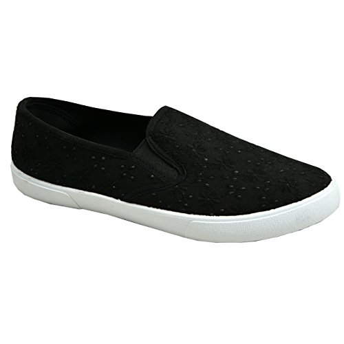 New Womens Ladies Slip On Floral Sneakers plimsolls Trainers Shoes Size UK 3-8 Black Crochet swdCvvA