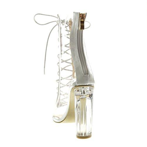 Stivaletti Peep Angkorly Blocco Donna Scarponcini Scarpe Merletto a Tacco Bianco Moda cm 11 Toe Alto Trasparente wfwErIq