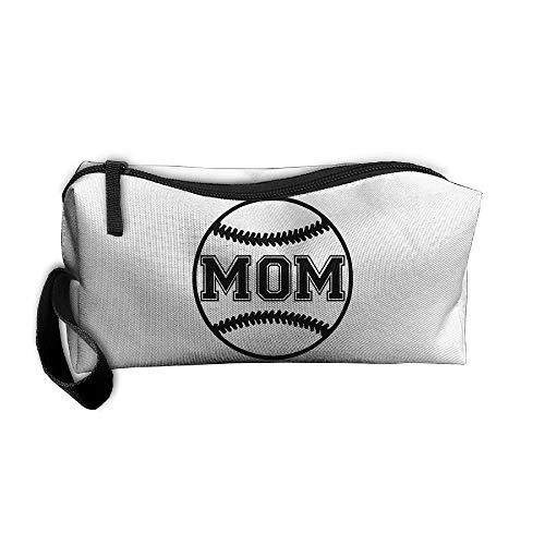 Cosmetic Bags With Zipper Makeup Bag Softball MOM Middle Wallet Hangbag Wristlet Holder