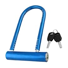 Bicycle Bike Security Blue Plastic Coated Metal U Lock