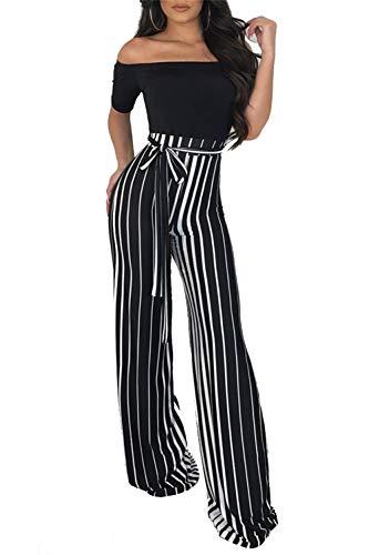 NRTHYE Women Sexy Jumpsuit Off Shoulder Stripe Belted Wide Leg Palazzo Long Pants Romper