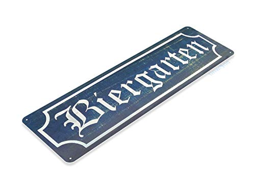 Tinworld Tin Sign Biergarten Bier Rustic German Octoberfest Beer Metal Sign Decor Kitchen Cottage Pub Bar Cave B023 for $<!--$5.95-->