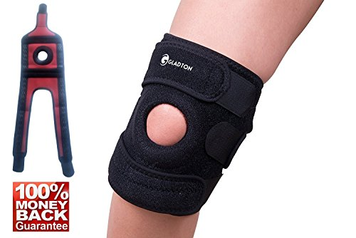 Gladton Large  Xl To Xxl To Xxxl Knee Brace Support For Meniscus Tear  Arthritis  Acl  Mcl  Pain Relief  Sports  Best Knee Braces For Plus Size Big Large Legs  Adjustable Bi Direction Straps  3 Sizes