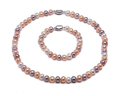 JYX 8-9mm Multi-color Flat Freshwater Pearl Necklace and Bracelet Set
