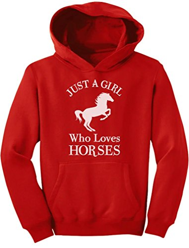 Tstars - A Girl Who Loves Horses Horse Lover Gift Youth Hoodie Large Red by Tstars (Image #1)
