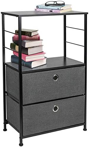 Sorbus Nightstand 2-Drawer Shelf Storage – Bedside Furniture Accent End Table Chest for Home, Bedroom, Office, College Dorm, Steel Frame, Wood Top, Easy Pull Fabric Bins Black Charcoal