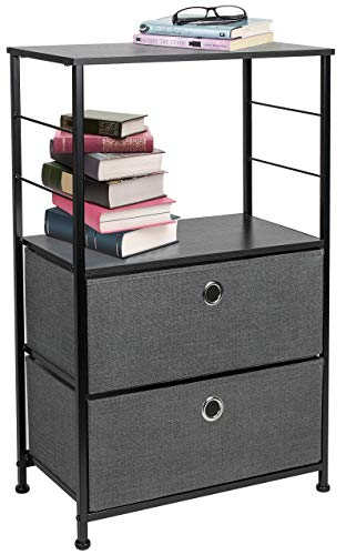 Chest 2 Accent Drawer - Sorbus Nightstand 2-Drawer Shelf Storage - Bedside Furniture & Accent End Table Chest for Home, Bedroom, Office, College Dorm, Steel Frame, Wood Top, Easy Pull Fabric Bins (Black/Charcoal)
