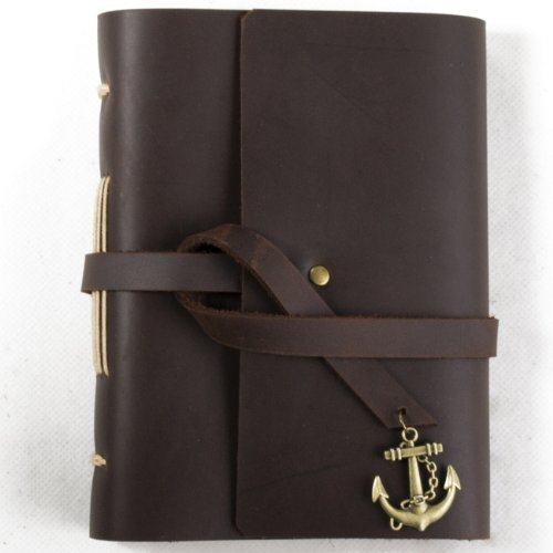 Ancicraft Small Leather Journal Diary with Vintage Anchor Charm Handmade Blank Paper Brown A6 with Gift Box (A6(4.13×5.91inch))