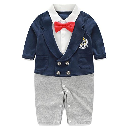 Fairy Baby Newborn Boy's Gentleman Romper Outfit with Bow Tie,3-6M,Navy Blue Badge by Fairy Baby