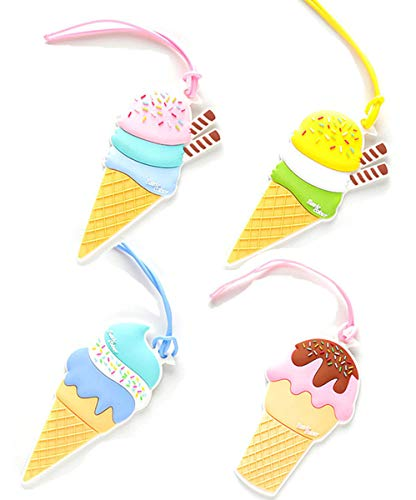 King&Pig 4pcs Ice Cream Luggage Tags Suitcase Luggage Tags Travel Accessories Baggage Name Tags