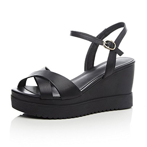 AmoonyFashion Womens Buckle High Heels Cow Leather Solid Open Toe Sandals Black HEwcj