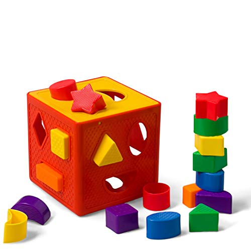 LuaLua Baby Blocks Shape Sorter Toys Puzzle Children's Building Blocks with Colorful Sorter Cube Box Includes 18 Shapes - Color Recognition Shape Gifts for Boy & Girl Toddlers