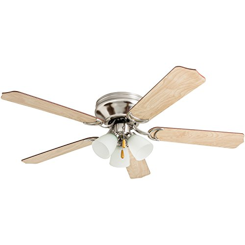 Prominence Home 50865 Tilbrook Hugger LED Ceiling Fan Indoor Flush-Mount Low-Profile, 52 , Satin Nickel