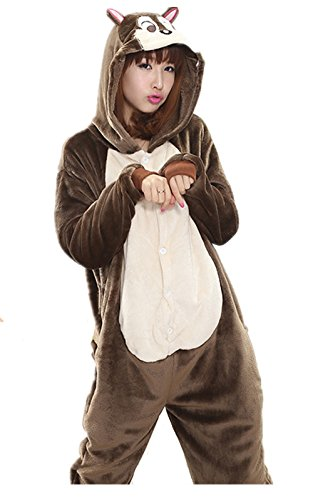 Akanbou Cute Animal Pajamas Onesies Flannel Plush Anime Pajama Cartoon Cosplay Costumes Unisex Adult Warm Sleepwear Halloween Hooded Homewear (L, Flower Spirit Mouse) for $<!--$26.99-->