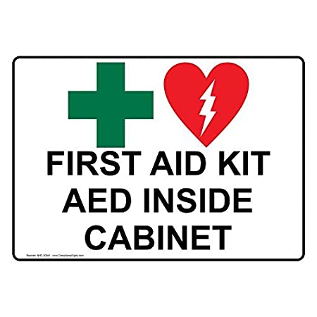 First aid kit aed inside cabinet vinyl stickers signs self adhesive lables sticker decal signs